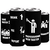 Slim Can Cooler Sleeve for 12 Oz Drinks & Beer, Beer Can Cooler Sleeve for White Claw for Michelob Ultra, Soft Neoprene Can Coolie, Party Essentials Funny Gag Gift (4 Pack)