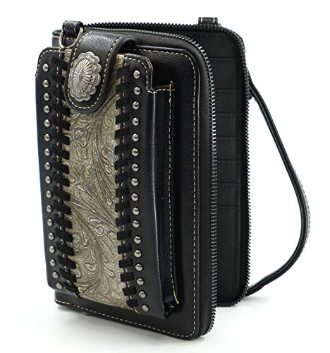 Montana West Crossbody Cell Phone Purse For Women Western Style Phone Bags Travel Size With Strap MWUSA-PHD-108BK