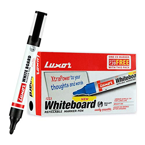 Luxor 1223 Refillable White Board Marker - Black - Box of 10