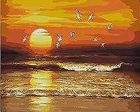 JYSZSD デジタル油絵 夕日の海 数字キット塗り絵 手塗り DIY絵 デジタル油絵 40x50cm 手芸 画材 手工芸 キット 芸術 工芸 DIY 手作り 装飾品(フレームなし)