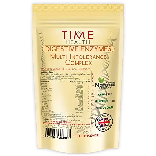 Digestive Enzymes – Multi Intolerance Complex – 120 Capsules – UK Made – Zero Additives – Pullulan (120 Capsule Pouch)