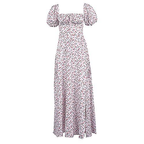 N\P Elegante Cuello Cuadrado Primavera Verano Vestido Casual Playa, Rojo rosa, Medium