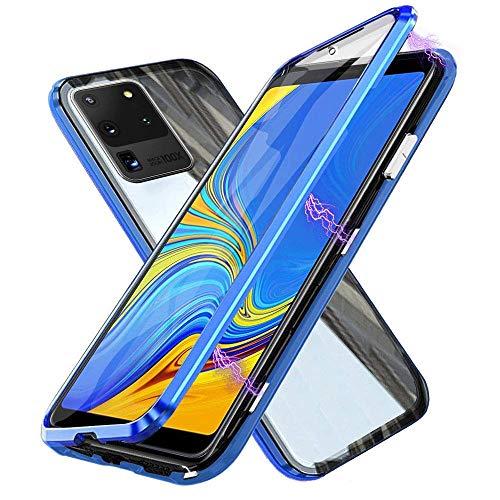 Funda para Samsung Galaxy S20+ / S20 Plus 5G, Adsorción Magnética Cubierta Vidrio Templado Frontal y Posterior Flip Case Marco Metal Bumper Funda Anti Choque Protección 360 Grados Carcasa, Azul
