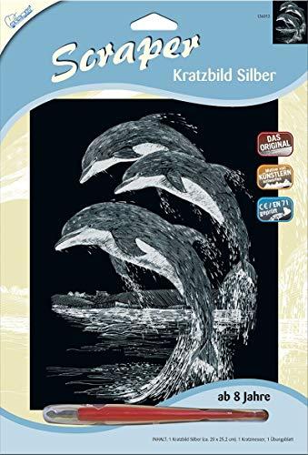 MAMMUT 136013 - Kratzbild, Motiv Delfine, silber, glänzend, Komplettset mit Kratzmesser und Übungsblatt, Scraper, Scratch, Kritzel, Kratzset für Kinder ab 8 Jahre