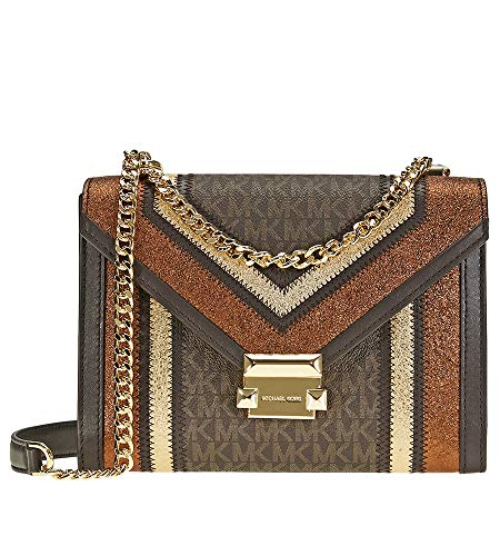 Beautifully Organized Shoulder bag Blends Classic and Modern design elements in Signature Coated Twill with Flashes of Metallic Leather. The Chain Strap Hangs near the Hip or can be Doubled for Night-out Wear. Beautifully Crafted with MK Signature Co...
