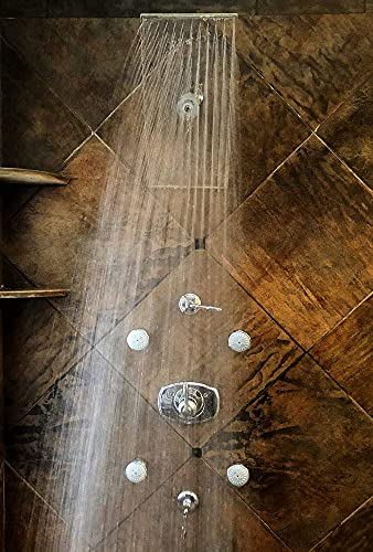 NEW PREMIUM Large Shower Head by Clear Shower XL - Clear Model, FIRM PRESSURE Square 18 inch (45cm) Adjustable Shower Head, LUXURY Waterfall Full Body Coverage, Easy to Install