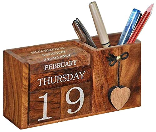 Frescorr(TM) - Calendar Block - (Made of one of the world's expensive wood) Wooden Perpetual Desk Calendar - Home and Office Decor, 6.5 x 2.0 x 3.5 inches, A Perfect Gift !!