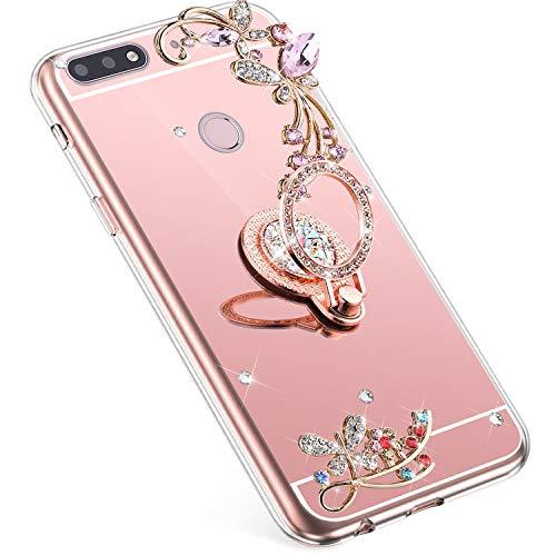 Uposao Kompatibel mit Huawei Honor 7C Handyhülle Strass Diamant Bling Glitzer Spiegel Schutzhülle Mirror Hülle Schmetterling Blumen Silikon Hülle Tasche mit Ring Halter Ständer,Rose Gold