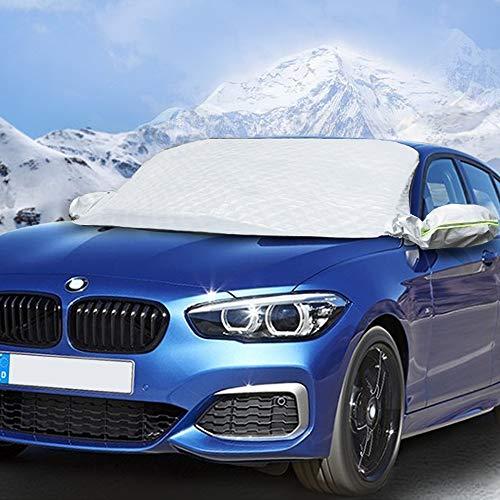 QUEES Auto Frontscheibe Abdeckung, Frontscheibenabdeckung Winter Scheibenabdeckung Mit Zwei Spiegelabdeckungen Faltbare für EIS
