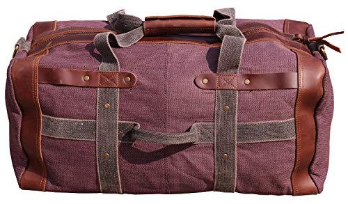 IBLUE Extra Large Durable Canvas Travel Bag Leather Trim Duffel Overnight Weekend Shoulder Bag Vintage Carryon Tote Handbag