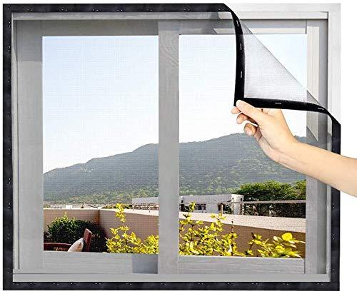Eageroo DIY selbst abschnittbar Fliegennetz Ohne Bohren Insektenschutz Klettband Fliegengitter Fenster mit Klettband 130cm X 150cm (schwarzes Klettband)