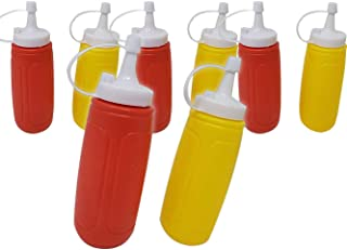 "Ketchup & Mustard Dispensers | Condiment Squeeze Set, 4 -Pack (8 Bottles) – 12 oz with Lid/Cap 7.25"" Tall. Great for BBQ &..."