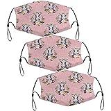 3 máscaras faciales con trabillas ajustables para las orejas, pimentón floral en lino rosa, máscaras a prueba de polvo, reutilizables, bandana brethable para hombres y mujeres
