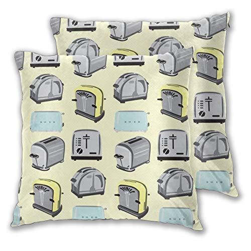 Juego de 2 fundas de almohada para decoración diaria de sofá, dormitorio, coche, tostada, desayuno, comida y desayuno, color amarillo, azul, gris