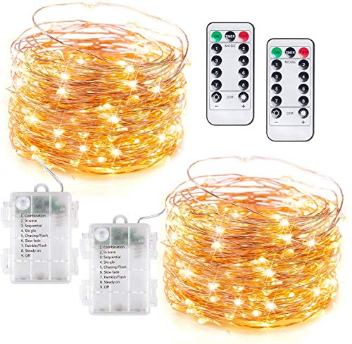 Fairy Lights 2 Pack 33 Feet 100 Led String Lights Battery Operated with Remote Controller Set Timer and 8 Lighting Modes Waterproof Copper Mini Led Lights for Outdoor Party Decor Warm White