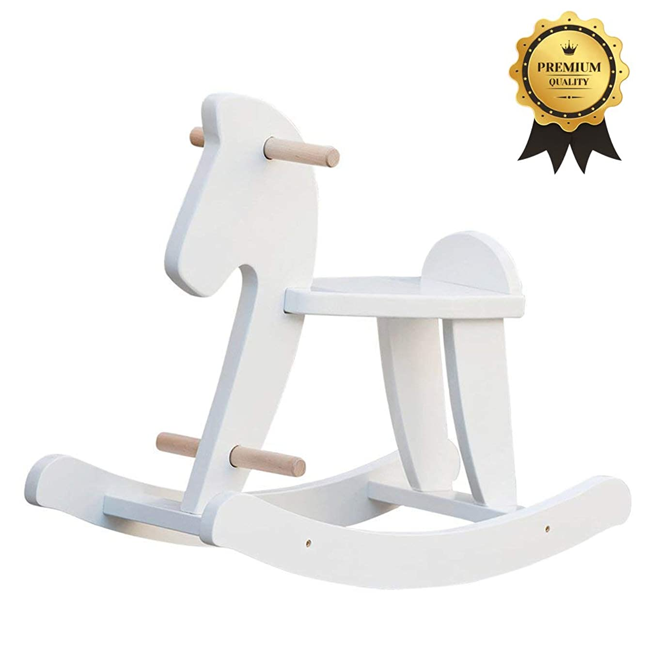 labebe - Wooden Rocking Horse, Baby Wood Ride On Toys for 1-3 Year Old, White Rocker Toy for Kid, Toddler Ride Animal Indoor/Outdoor, Boy&Girl Rocking Animal, Infant Ride Toy, Christmas/Birthday Gift