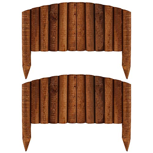 PlantBox Kiefernzaun 55 + 55 cm (2 Stücke) aus Holz | als Steckzaun | Beeteinfassung | Kanteneinfassung | Zaun Rasenkante oder Palisade | wetterfest imprägniert, Höhe:40 cm