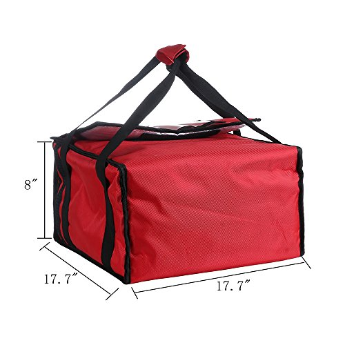 "Polyester Insulated Pizza/Food Delivery Bag 18""×18""×8"" for Three 16"" Pizza Boxes (Red)"
