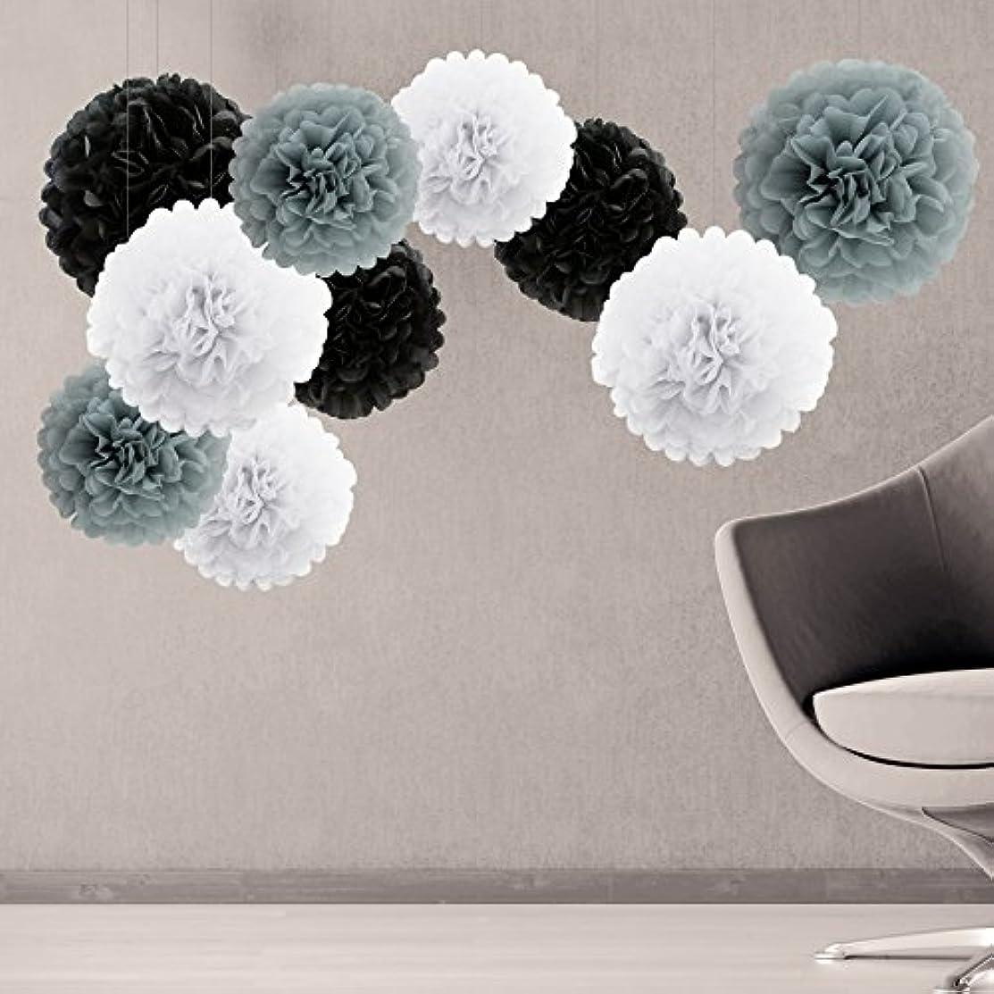 Tissue Paper Pom Poms Flower Party Decorations Set of 10 White Gray Black Pack 10