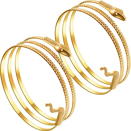 2 Pack Metal Snake Armband Swirl Snake Spiral Upper Arm Cuff Armlet Bangle Bracelet Egyptian Costume Accessory for Women Gold