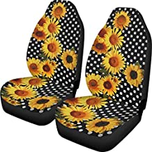 Front Bucket Seat Cover for Women, Sunflower Print Seat Cover for Universal Cars, Trucks, Vans, & SUV