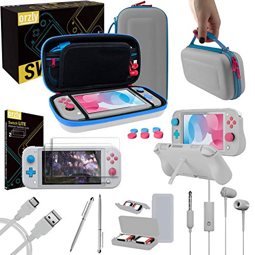 Orzly Switch Lite Accessories Bundle - Case & Screen Protector for Nintendo Switch Lite Console, USB Cable, Games Holder, Grip Case, Headphones, Thumb-Grip Pack & More (Gift Pack - Z&Z Edition)