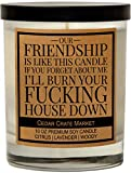 Our Friendship is Like This Candle - Funny Candles for Women, Men, Best Friends, Friendship Candle Gift, Lavender Scented Candle for Girlfriend, Birthday Gifts, Female, Funny Bestie Gifts for BFF