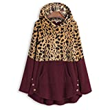 Womens Long Coats Jackets Hooded Leopard Print Patchwork Fleece Lined Loose Warm Padded Parka Plus Size HebeTop