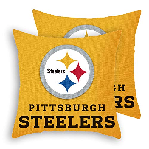 """MT-Sports Football Team Super Bowl Throw Pillow Covers Pillow Cases Two Size Decorative Pillowcase Protecter with Zipper Without Insert Set of 2 (Pittsburgh Steelers, 18"""" x 18"""")"""