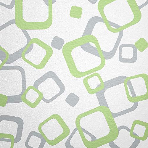 WANDfee® Wandtattoo Vierecke 60 Aufkleber FARBWUNSCH Wandaufkleber Kinderzimmer Fliesenaufkleber Badezimmer Küche pastell-grün hell-grau