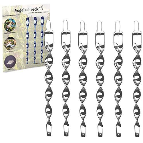 Vogelschreck zur Vogelabwehr [6er Set] Reflektierende Windspirale in Silber - Ideal als Deko - Abwehr von Vögeln im Haus & Garten (6, Silber)