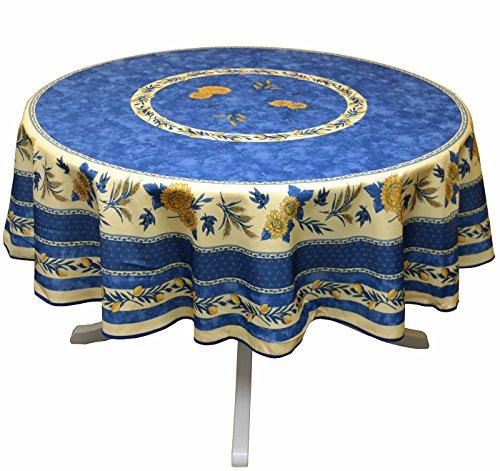 Tovaglia rotonda anti macchia, motivo provenzale, in poliestere, con girasole e ape, colore blu, diametro 180cm