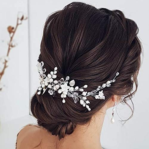 Easedaily Bride Wedding Hair Vine Silver Flower Headpieces Pearls Bridal Headband Rhinestone Hair Accessories for Women and Girls