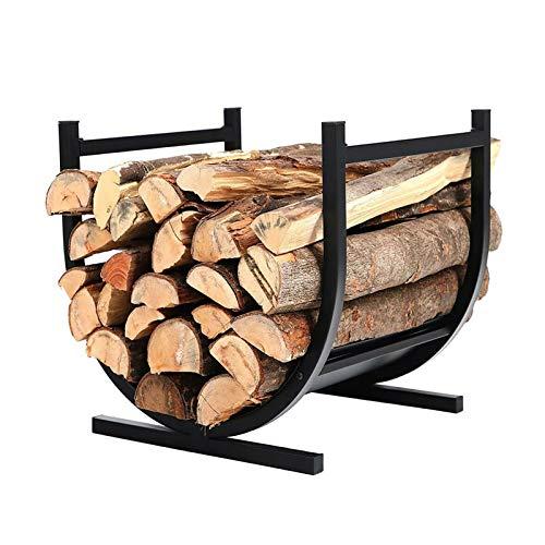 WXQIANG Pequeña decoración Interior/al Aire Libre estantes de leña Fireside Log Estant, Negro Medio Redondo Diseño de Madera Soporte de Almacenamiento de Madera, Hierro Forjado Durable y Protector