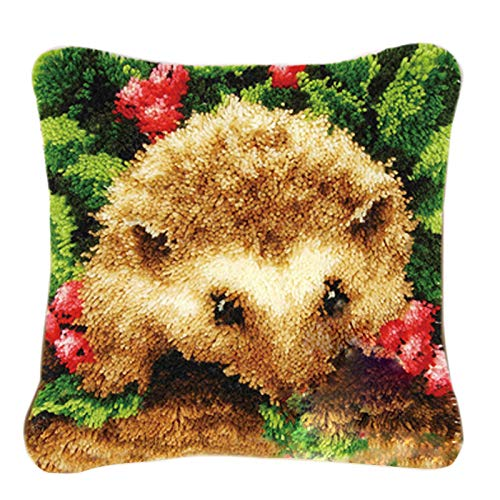 Latch Hook Kits Rugs, ColiCor DIY Latch Hook Kits Cushion Latch Hooking Rug Kits Cushion Embroidery for Kids, Hedgehog