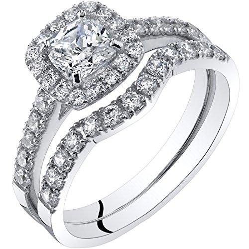 Peora 14K White Gold Cushion Cut Engagement Ring and Wedding Band Bridal Set Size 8