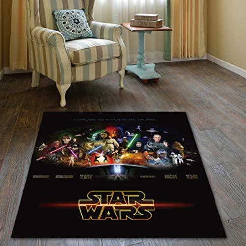 LSXA Alfombra Sala De Estar Dormitorio Habitación Infantil Alfombra De Dibujos Animados Star Wars Vivero Rectangular Comedor Sala De Estar para Bebés Actividad De Cabecera Felpudo