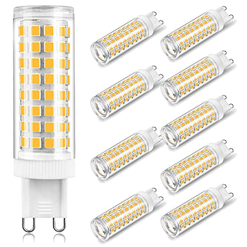 KACT 10 x G9 LED Lampadine del 10W Nessun Sfarfallio, 100-LED SMD 2835, Angolo di Fascio di 360 ° 1000 Lumen Pari ad Alogene da 100W per l'illuminazione Lnterna,Natural White