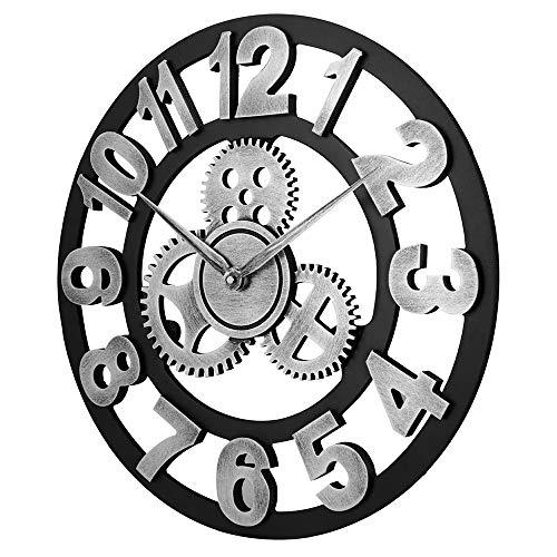 QUARKJK Relógio de parede industrial estilo retrô 3D, design vazado, números árabes, fácil de ler - Arte redonda silenciosa, relógio de parede operado por bateria, 58 cm