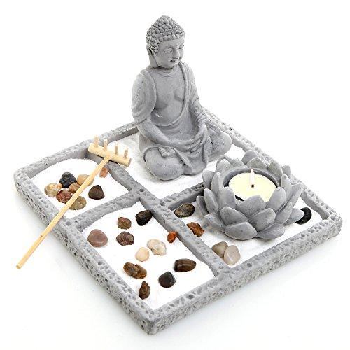 MyGift Deluxe Gray Cement Rustic Zen Buddha Statue Garden Set with Lotus Tealight Candleholder, Sand, Rock & Rake