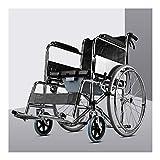 D-Q Autopropulsada plegable silla de ruedas Widen Con delantera y trasera freno de mano discapacitados, minusválidos con silla de ruedas con asiento Usuarios diseño de la cerradura del cinturón de seg