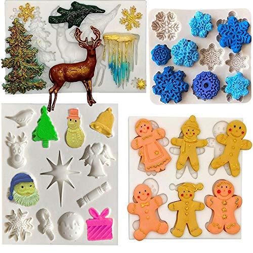 Amestar - Juego de 4 moldes para fondant de Navidad, decoración de tartas de Navidad, molde de silicona para caramelos, pan de...