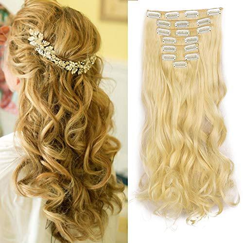 Extension a Clip Cheveux Naturel Ondulé Bouclés Extensions Cheveux Clips 8 Bands Clip in Hair Extension Curly Wavy Postiche (Blond platine)