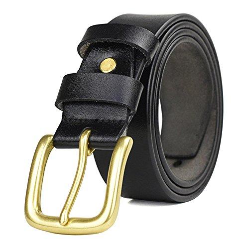 TWFY Cinturón de Hombre de Cuero Clásico Cinturón Hombre de Negocios Casual Puro Cuero de la Hebilla de Cobre de la Correa Adecuado Cinturón de Vestir Casual (Color : Black)