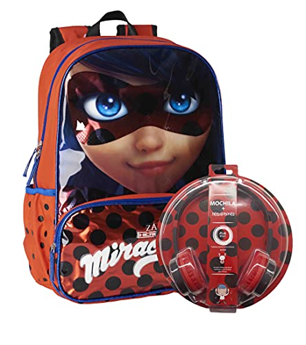Miraculous Ladybug Mochila para Niña, Mochila Escolar Grande, Bolsa de Viaje Infantil, Incluye Auriculares, Regalo para Niñas