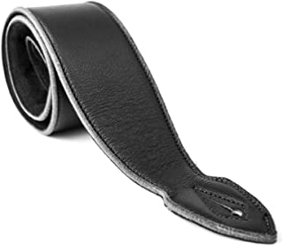 LeatherGraft Dark Jet Black Genuine Leather Extra Soft 3.7 Inch Wide Padded Guitar Strap - For all Electric, Acoustic, Classical and Bass Guitars