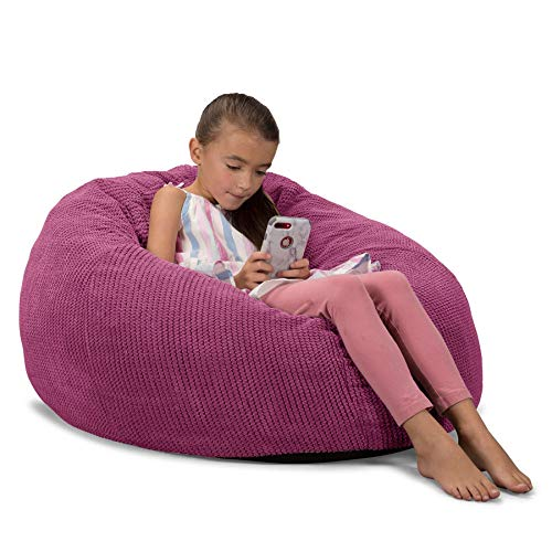 Lounge Pug, CloudSac 200 Kinder, Riesen Memory-Schaum Kinder Sitzsack, Pom-Pom Pink