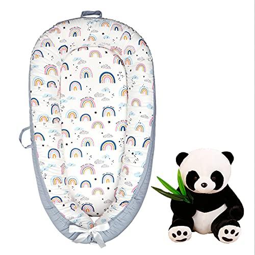 Nido de bebé portátil Cuna Lavable a máquina Imitación de diseño Uterus Necesidades para el bebé recién Nacido Viene con una muñeca Panda Regalo recién Nacido,Rainbow
