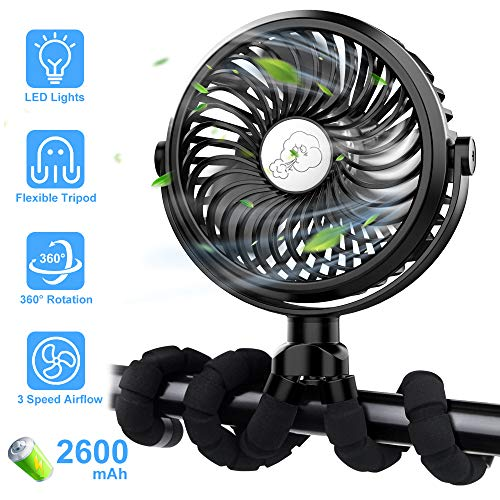 FITA Stroller Fan, Portable USB Rechargeable Fan with Flexible Tripod and LED Lights, 3 Speed Settings, Personal Fan for Bike/Baby Stroller/Car Seat