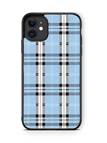 XUNBOTINGS for iPhone 11 Case -Blue Plaid Design Patterns -Soft TPU+Luxury Tempered Mirror Protective iPhone Case (for 11)